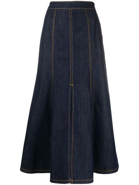 Джинсовая юбка макси синяя Kenzo