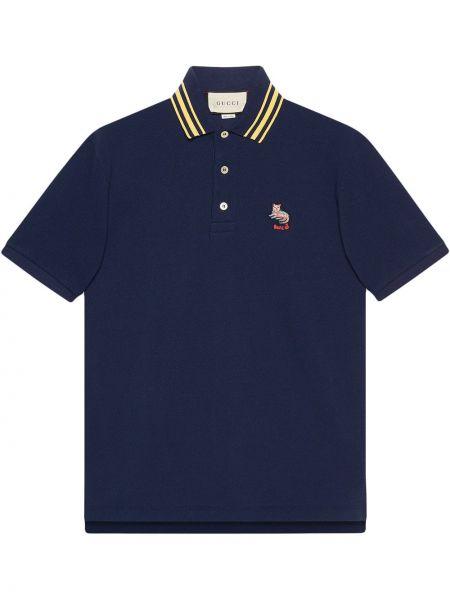 Niebieski bawełna koszula krótkie z krótkim rękawem z haftem z kołnierzem Gucci