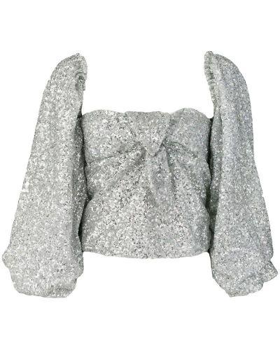 Блузка с длинным рукавом с пайетками серебряный Attico