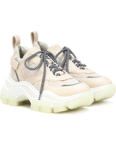 Кожаные кроссовки белый бежевые Prada