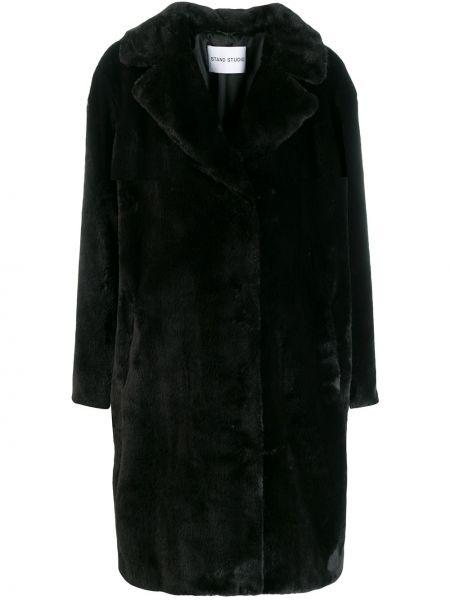 Черное длинное пальто из искусственного меха с воротником Stand