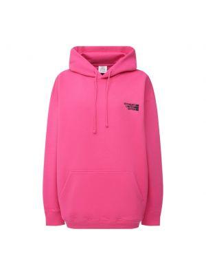 Розовая толстовка с карманами с вышивкой Vetements
