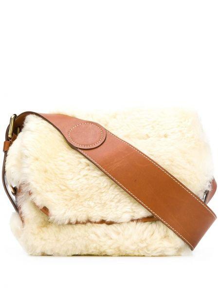 С ремешком кожаная белая сумка на плечо Holland & Holland