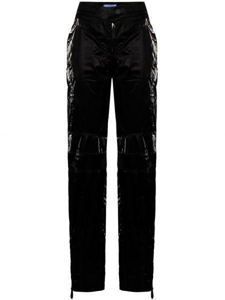 Прямые черные брюки из вискозы Mugler