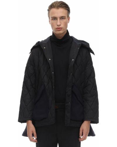 Czarna kurtka z kapturem z nylonu Saldarini
