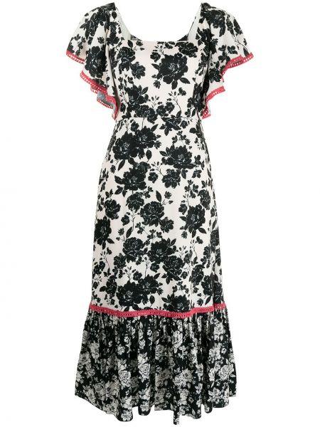 Czarna sukienka rozkloszowana w kwiaty Sachin & Babi
