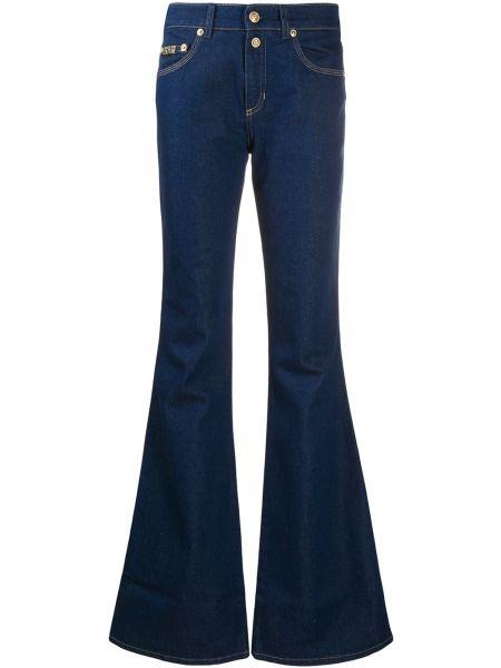 Расклешенные синие классические брюки с карманами Versace Jeans Couture
