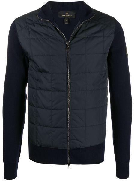 Niebieski wełniany prosto długa kurtka z długimi rękawami Belstaff