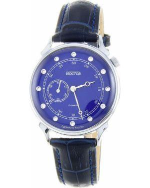 Кожаные часы механические - синие Vostok