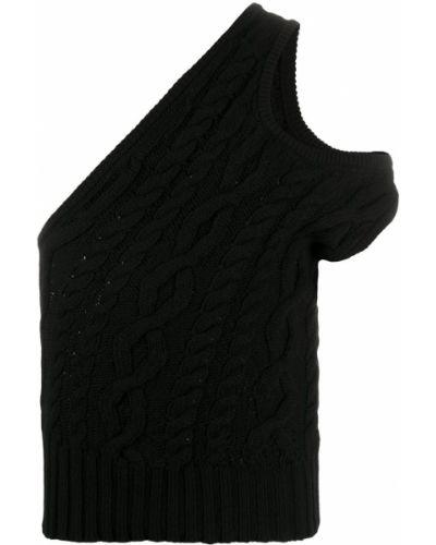 Черный вязаный топ в рубчик с открытыми плечами Telfar