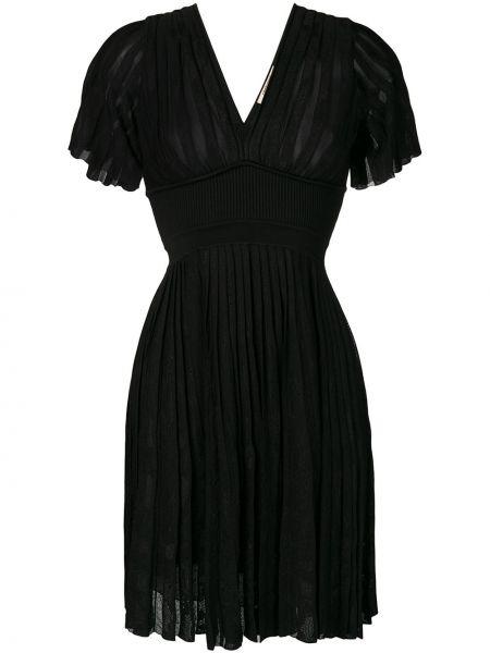 Черное расклешенное платье мини с V-образным вырезом на молнии Roberto Cavalli
