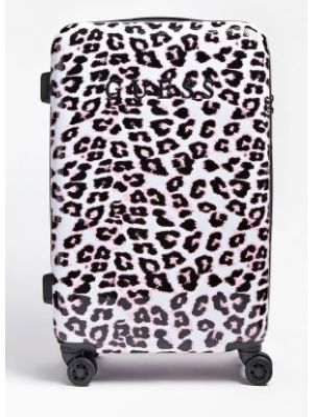 Różowa walizka z printem Guess