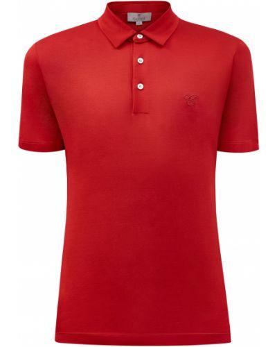 Базовая футболка с вышивкой с воротником на пуговицах Canali