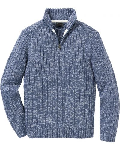 Пуловер на молнии синий Bonprix