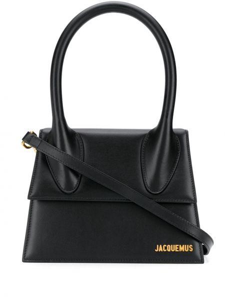 Золотистая кожаная черная сумка-тоут Jacquemus