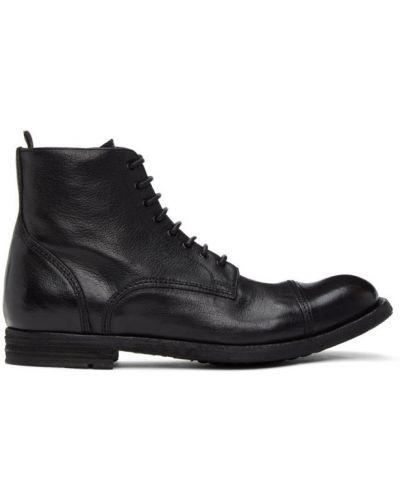 Czarny buty na wysokości zasznurować z prawdziwej skóry okrągły nos Officine Creative