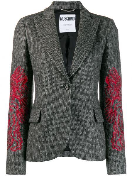Серый приталенный пиджак с карманами Moschino