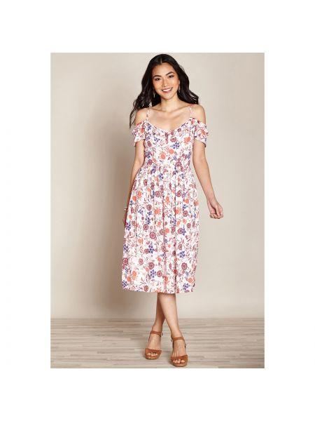 Платье миди на бретелях с цветочным принтом Yumi