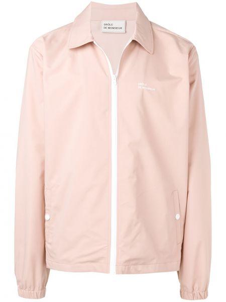 Różowa długa kurtka z długimi rękawami z printem Drole De Monsieur