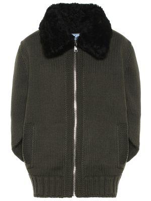 Плюшевая куртка - зеленая Prada
