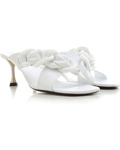 Białe sandały skorzane w paski No. 21
