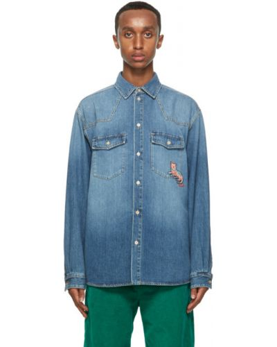 Niebieski koszula dzinsowa z mankietami z kieszeniami zapinane na guziki Gucci
