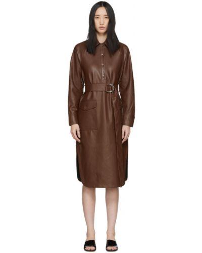Кожаное платье макси с длинными рукавами с поясом Tibi