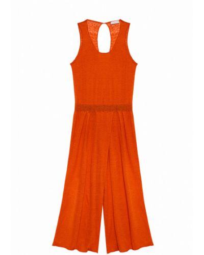 Льняной оранжевый брючный комбинезон без рукавов Stefanel