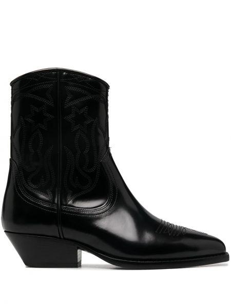 Черные кожаные ботинки на каблуке Sandro Paris