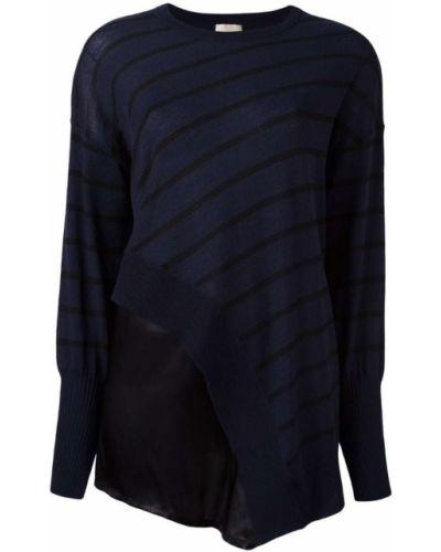 Блузка в полоску асимметричная шелковая Nude