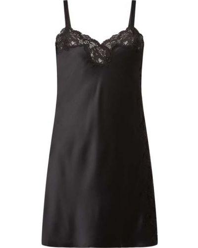 Ażurowy czarny koszula nocna z dekoltem na sznurowadłach Lauren Ralph Lauren