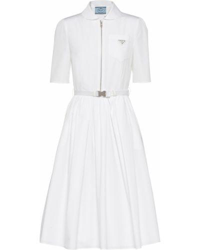 Белое хлопковое платье Prada