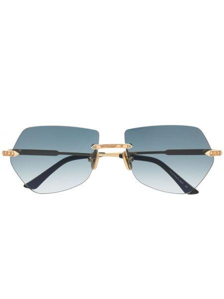 Złote okulary khaki asymetryczne Anna Karin Karlsson