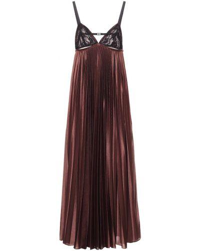 Satyna koronkowa brązowy sukienka na sznurowadłach Christopher Kane