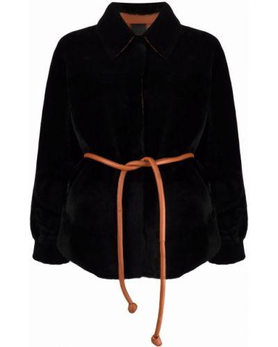Черное кожаное пальто Blancha