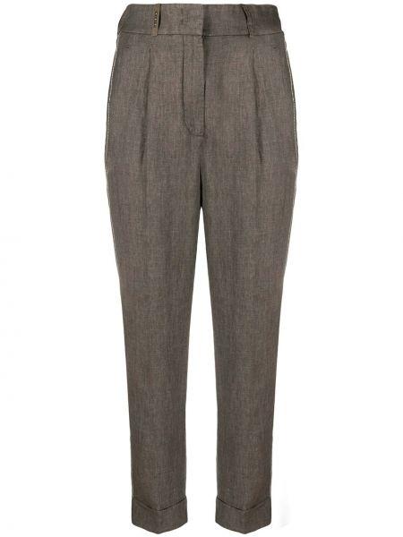 Зауженные серые укороченные брюки с поясом с отворотом Peserico