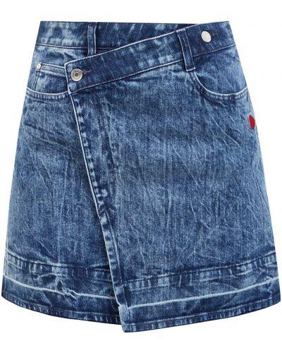 Асимметричная синяя кожаная юбка мини Stella Mccartney