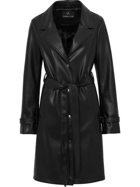 Черное кожаное пальто для полных Unreal Fur
