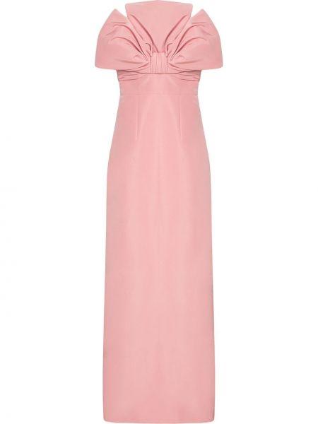 Приталенное шелковое розовое вечернее платье Carolina Herrera