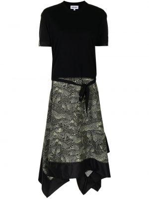 Хлопковое платье миди - черное Kenzo