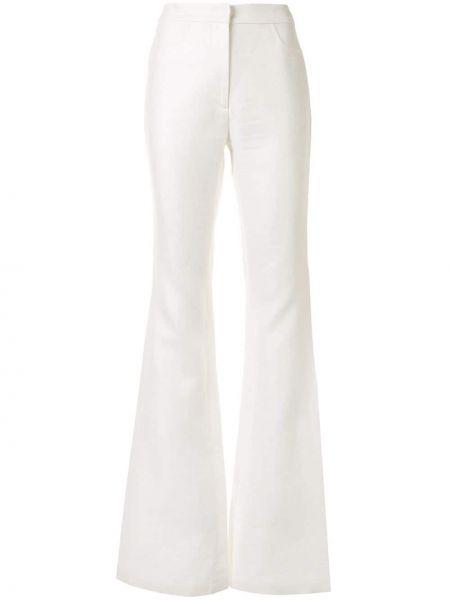 Хлопковые белые расклешенные брюки с высокой посадкой Alexis