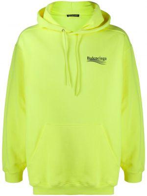 Bawełna bawełna żółty bluza z kapturem z kapturem Balenciaga