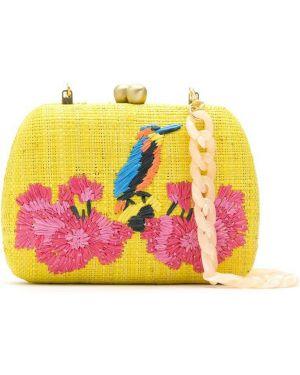 С ремешком желтая сумка на цепочке с вышивкой Serpui
