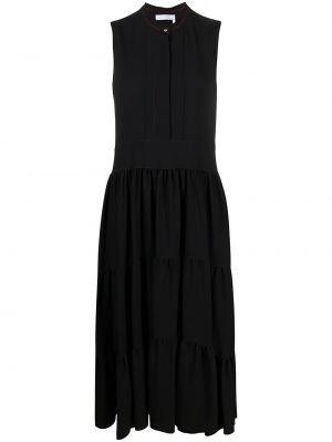 Черное платье миди с вышивкой с вырезом Chloé