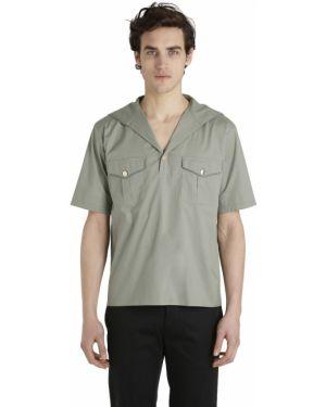 Złota zielona koszula krótki rękaw Christian Pellizzari