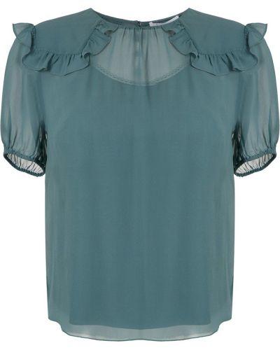 Блузка с коротким рукавом батник зеленый НК