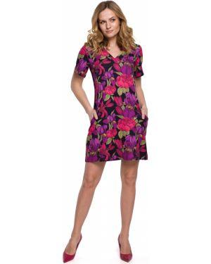 Sukienka mini ciepły w kwiaty Makover