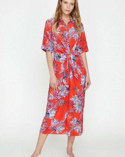 Красное платье-рубашка Koton