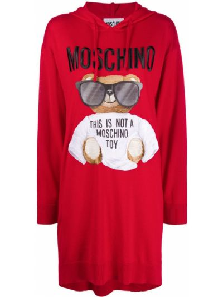 С рукавами шерстяное красное платье макси Moschino