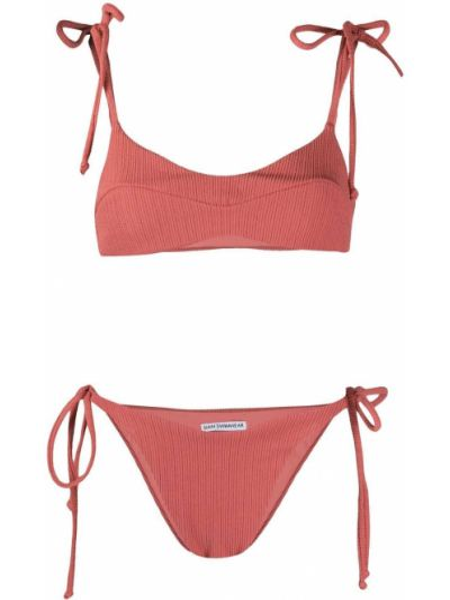 Красный купальник в рубчик с завязками с декоративной отделкой Sian Swimwear